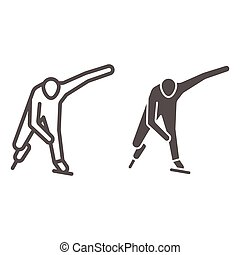 Skater line and solid icon, Winter sport concept, Speed ice skating sign on white background, Ice skater icon in outline style for mobile concept and web design. Vector graphics.