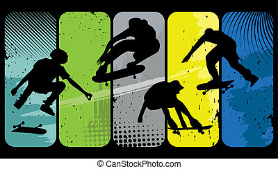 Silhouette skaters on an abstract grunge background