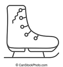 Skates for figure skating line and solid icon. Ice skates outline style pictogram on white background. Winter sport sign for mobile concept and web design. Vector graphics.