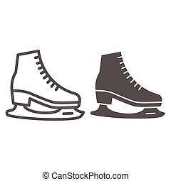 Skates line and solid icon, World snow day concept, Skating sign on white background, Hockey skates symbol in outline style for mobile concept and web design. Vector graphics.