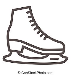 Skates line icon, World snow day concept, Skating sign on white background, Hockey skates symbol in outline style for mobile concept and web design. Vector graphics.