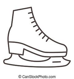Skates thin line icon, World snow day concept, Skating sign on white background, Hockey skates symbol in outline style for mobile concept and web design. Vector graphics.