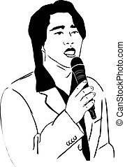 sketch of the Asian man of singing in a microphone