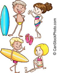 Sketches of the kids enjoying at the beach