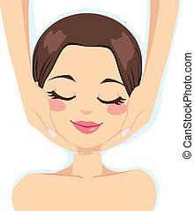 Beautiful young woman enjoying facial massage skincare treatment