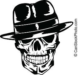 Vector image of skull in hat - gangster