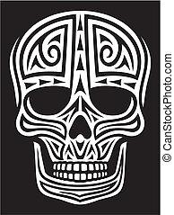skull ornament (skull in tattoo style, tattoo skull, tribal skull)