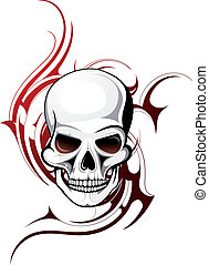 Skull shape with tattoo ornament isolated on white