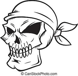 skull wearing bandana isolated on white backgroud
