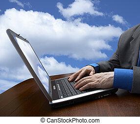 sky, businessman and laptop