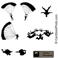 set of skydiving silhouettes with high detail