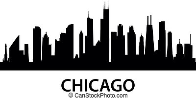 detailed silhouette of Chicago, Illinois