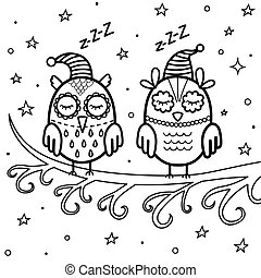 Sleeping owls on the branch coloring page. Good night coloring book