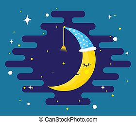 Sleeping yellow Moon on a night sky - vector.