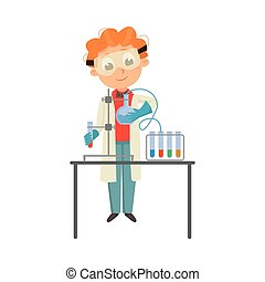 Smart Boy in Laboratory Coat Conducting Chemical Experiments in Glass Flask Vector Illustration