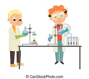 Smart Boys in Laboratory Coat Conducting Chemical Experiments in Glass Flask Vector Illustration