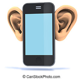 smartphone with big ears, 3d illustration