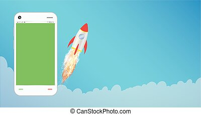 smartphone with toy rocket