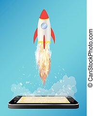 smartphone with toy space rocket