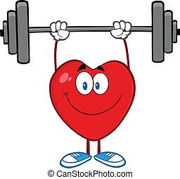 Smiling Heart Cartoon Mascot Character Lifting Weights