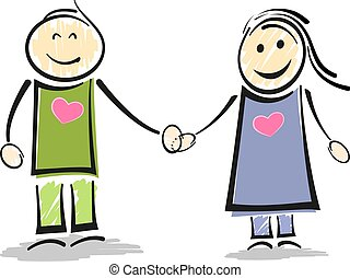 smiling stick figure couple holding hands