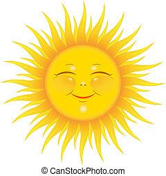 Vector Smiling Sun over white. EPS 8, AI, JPEG