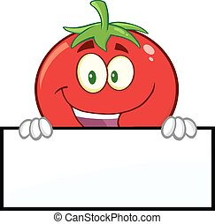 Smiling Tomato Over A Blank Sign