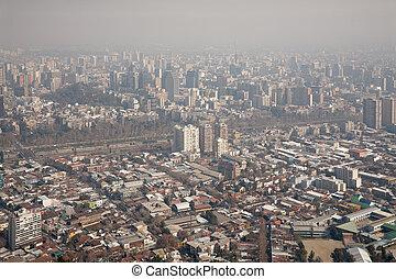 smog over Santiago, Chile, view from Cerro San Cristobal
