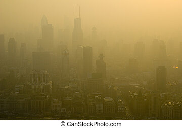 The smoggy late afternoon skies of Shanghai