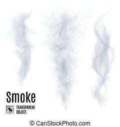 Set of transparent smoke on white background for design