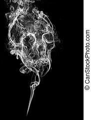 skull made of smoke on black background