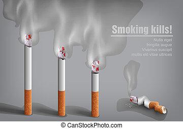 smoldering cigarette with a smoke vector, white