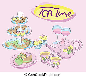 Snacks, cups and tea kettle - tea time concept