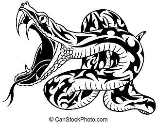 Snake Tattoo 02 - black illustration