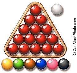 Snooker balls in triangle frame illustration