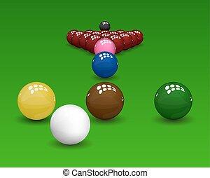 Snooker pyramid shiny balls on green background. Vector illustration.