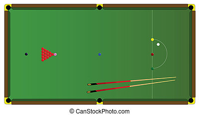 A typical full size snooker table with balls and snooker cues.