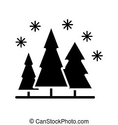 Snow forest vector glyph icon