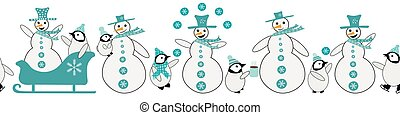 Snowman and baby penguin seamless vector border. Fun blue white banner with smiling, laughing snowmen, little penuins dressed in hats, scarves. Antarctic animals ice-skating, sledging winter scene
