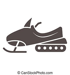 Snowmobile solid icon, World snow day concept, Motor sled sign on white background, Snowmobile motorbike silhouette icon in glyph style for mobile concept and web design. Vector graphics.