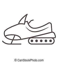 Snowmobile thin line icon, World snow day concept, Motor sled sign on white background, Snowmobile motorbike silhouette icon in outline style for mobile concept and web design. Vector graphics.