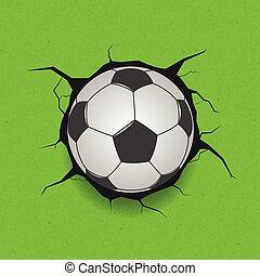 Soccer ball on cracked background