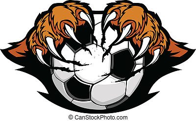 Soccer Ball With Tiger Claws Vector