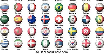 soccer balls concerning flags of countries participating to the final tournament of 2018 football world cup