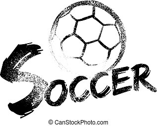 Soccer made with a grungy brush swooping through the air over a grunge version of the word soccer.