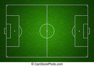 Soccer or football field or pitch top view with proper markings and proportions according standards