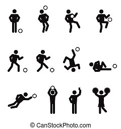 Soccer or football man icons set illustration pictogram black color isolated on white background