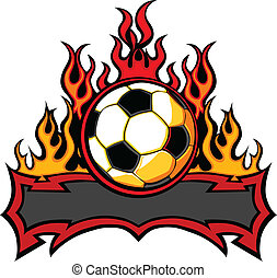 Soccer Template with Flames Vector