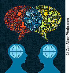 Two human figures face to face in conceptual social media communication on icon set blue background. Vector file available.