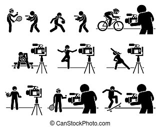 Social media sports, diet, and fitness influencers Internet video content creator pictogram.